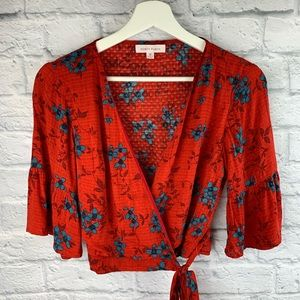 Honey Punch Red Floral Cropped Wrap Blouse 0086